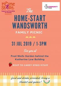 Home-Start Picnic @ Fred Wells Garden, Battersea